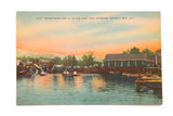 Vintage Catskills NY Postcard Water Sport Day at Silver Lake