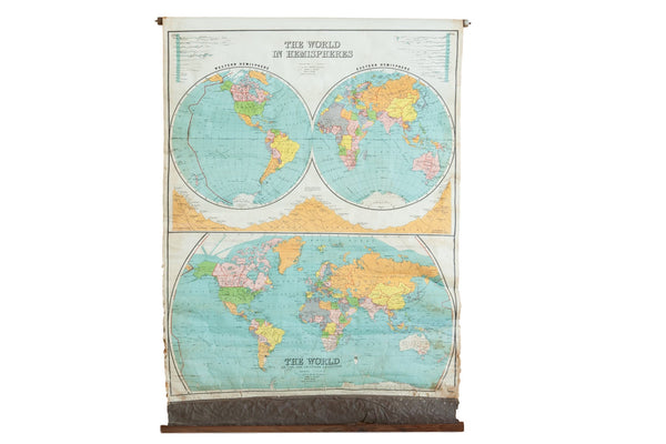 Antique Nystrom The World In Hemispheres Pull Down Map