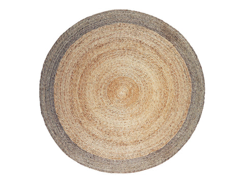 5' Round Hemp Rug with Pewter Border Armadillo Natural Fiber Rugs