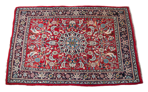 Small Red Persian Rug 3x4 Onh Vintage Rug 1181
