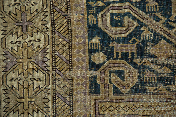 Antique Perpedil Caucasian Square Rug