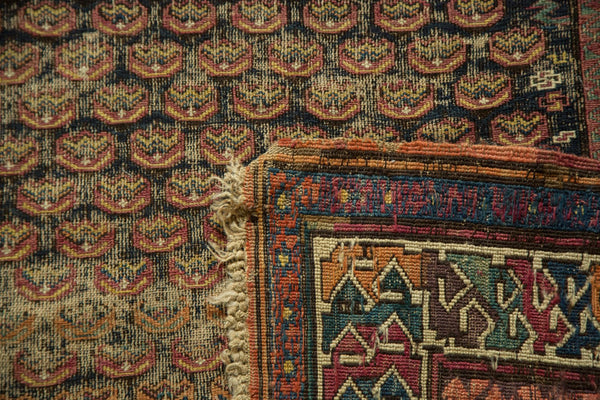 Antique Caucasian Soumac Rug Runner Front and Back