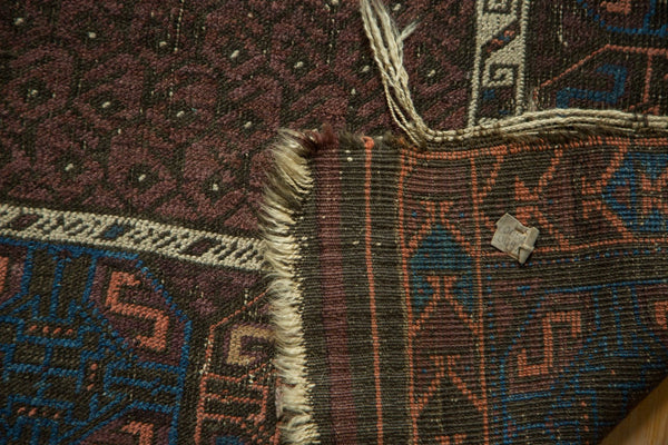 Antique Fine Belouch Rug Front and Back