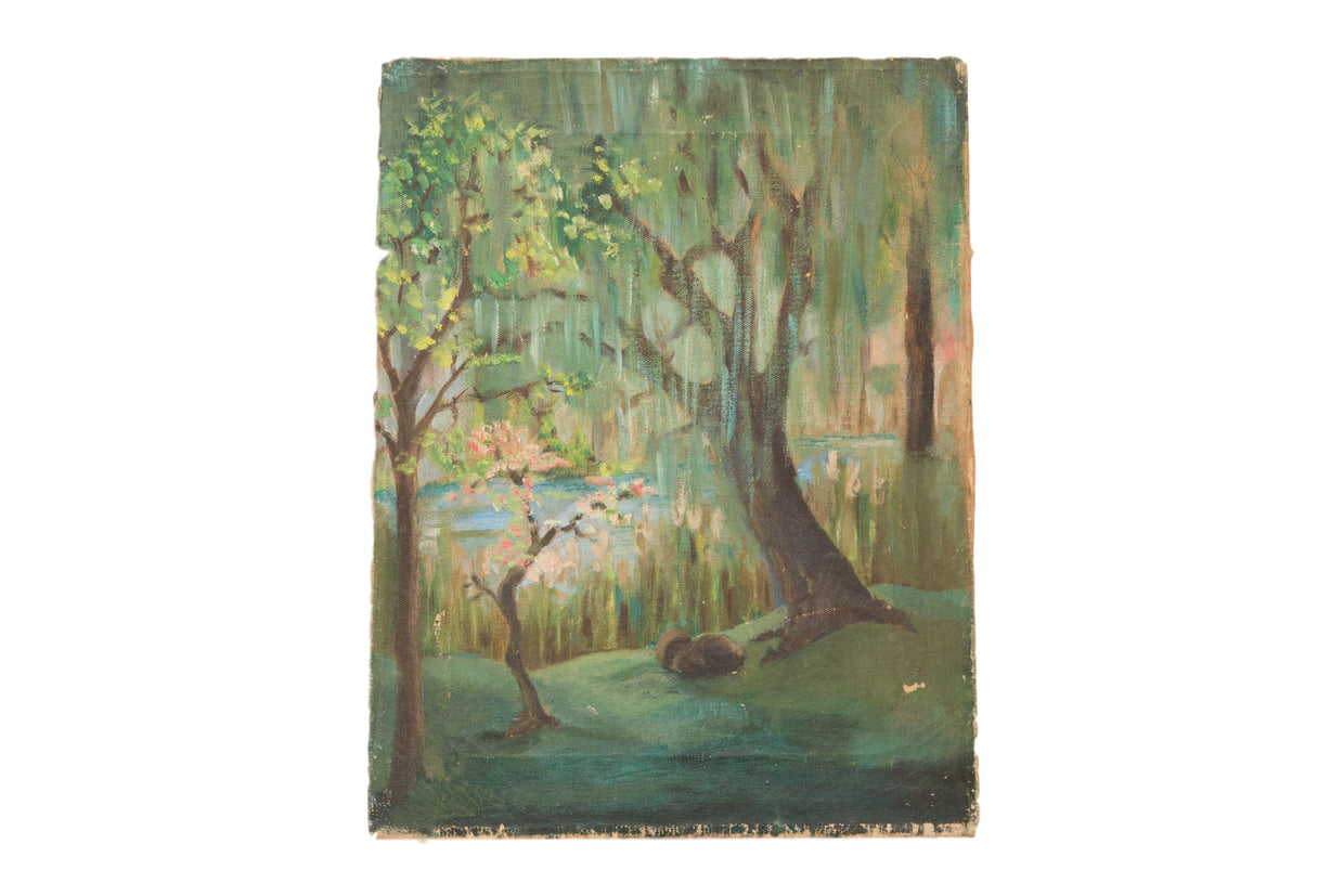 Vintage Tree and Lake Painting