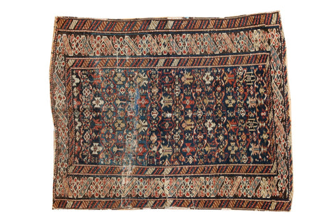 3.5x4.5 Antique Caucasian Square Rug // ONH Item 4141