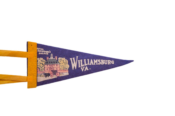 Vintage Williamsburg VA Royal Governor's Palace Felt Flag Pennant