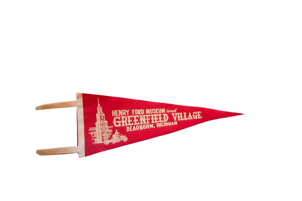 Vintage Henry Ford Museum And Greenfield Village Dearborn Michigan Felt Flag Pennant