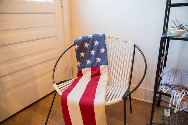 Eco-Friendly Made in USA Throw Blanket Vintage American Flag