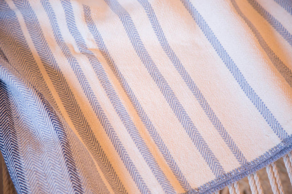 Eco-Friendly Made in USA Blanket Woven Double-Sided Blue