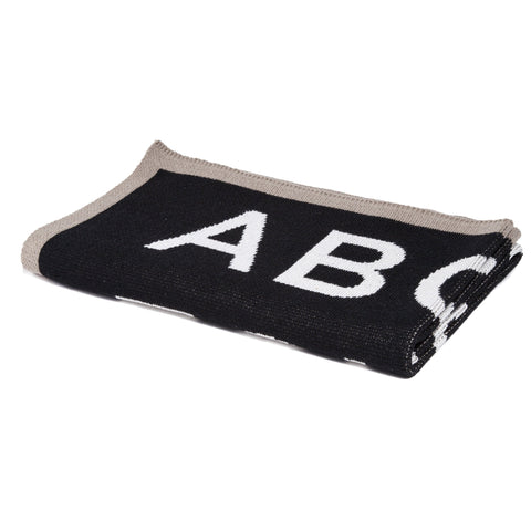 Eco-Friendly Made in USA Blanket ABC Kids Blanket Flax and Black