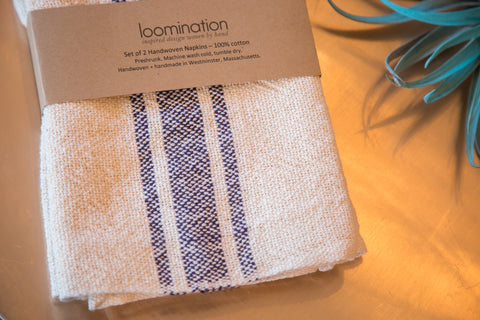 Handwoven in USA Loomination Napkin Set Navy