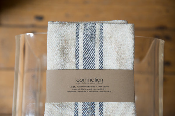 Handwoven in USA Loomination Napkin Set Gray