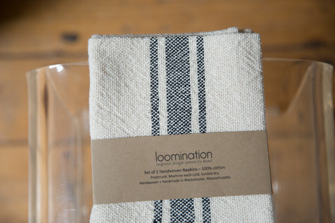 Handwoven in USA Loomination Napkin Set Black