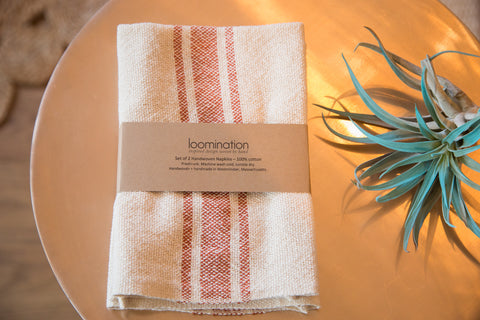 Handwoven in USA Loomination Napkin Set Sienna