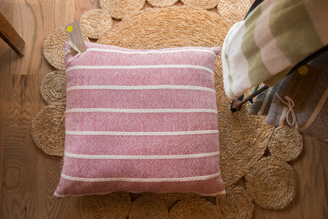 Hand-woven Striped Pillow in Wine Red