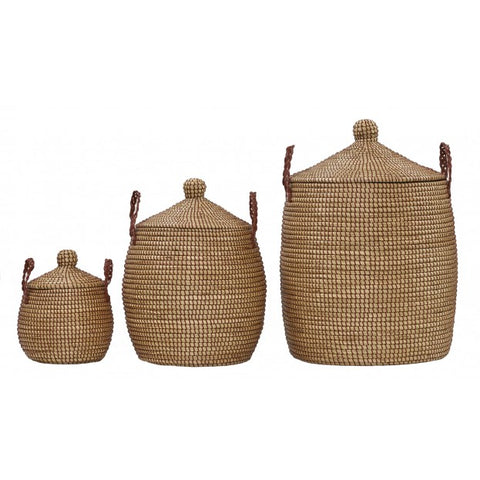Large Autumn Brown Lidded Fair Trade Basket // ONH Item 4223