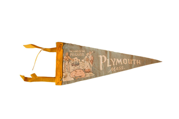 Vintage Plymouth, Mass. Felt Flag