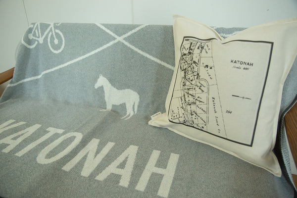 18x18 Katonah NY Map Pillow