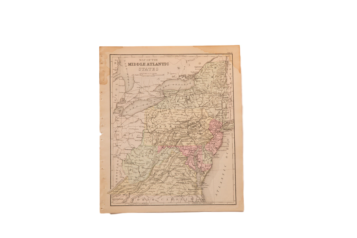 Antique Middle Atlantic States Map // ONH Item 4320