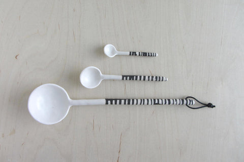 Large Ceramic Spoon White