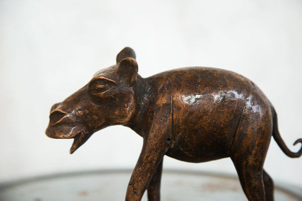 Lost Wax Casting Copper Vintage African Hippo