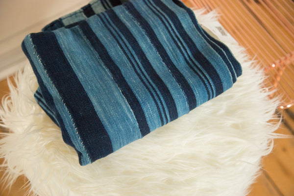 3.5x5 Striped Indigo African Textile Throw
