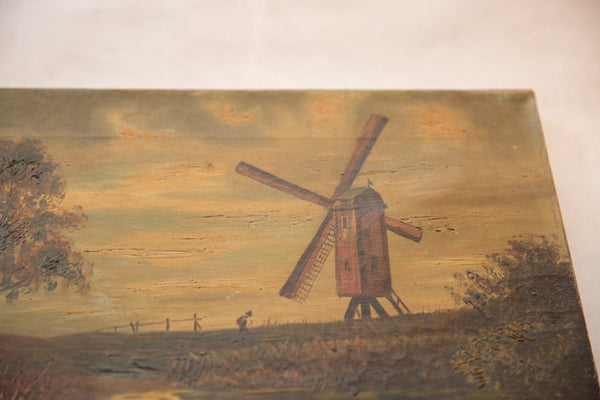 Antique Countryside Landscape Windmill Painting