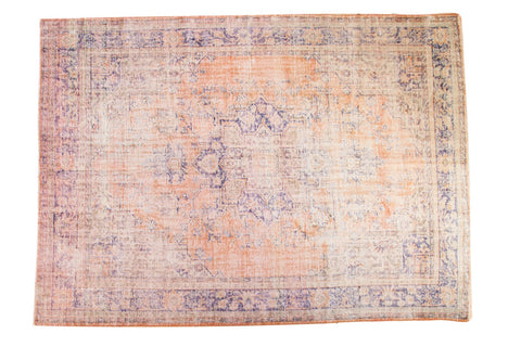 Vintage Distressed Overdyed Oushak Carpet