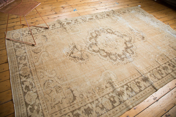 Vintage Distressed Oushak Carpet / Item 4643 image 9