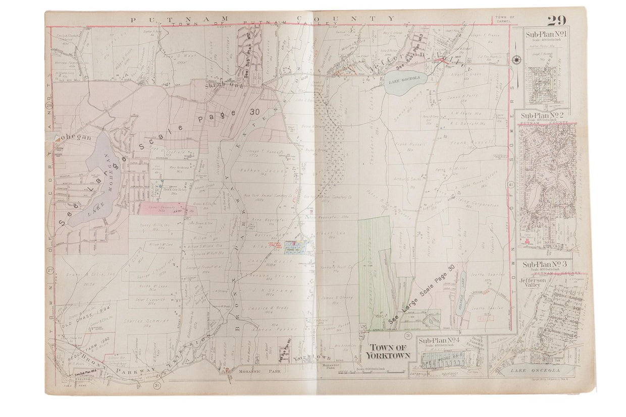 Vintage Hopkins Map of Town of Yorktown Westchester County New York