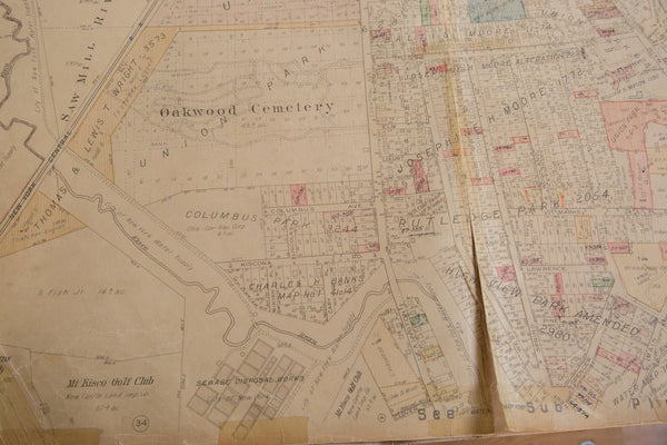 Vintage Hopkins Map of Village of Mt Kisco