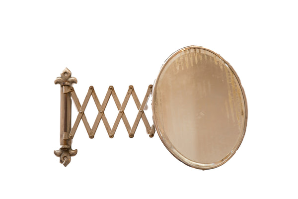 Unusual Oval Antique Beveled Glass Fleur de Lis Accordion Shaving Mirror