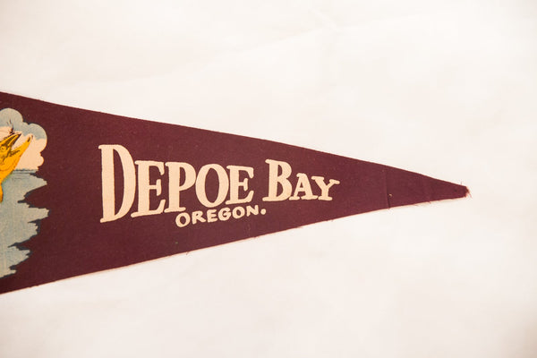 Depoe Bay Oregon Vintage Felt Flag