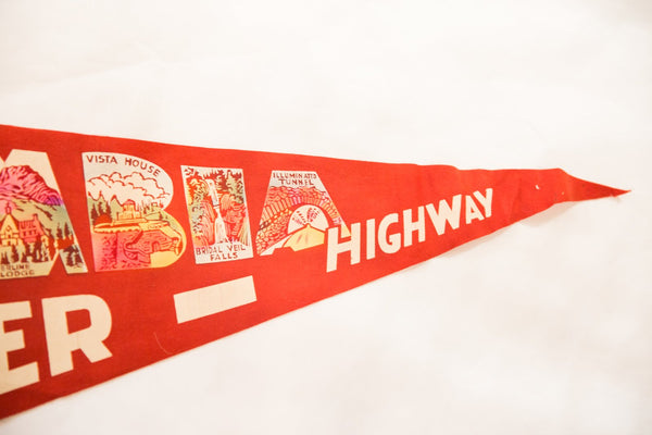 Souvenir of Columbia River Highway Vintage Felt Flag