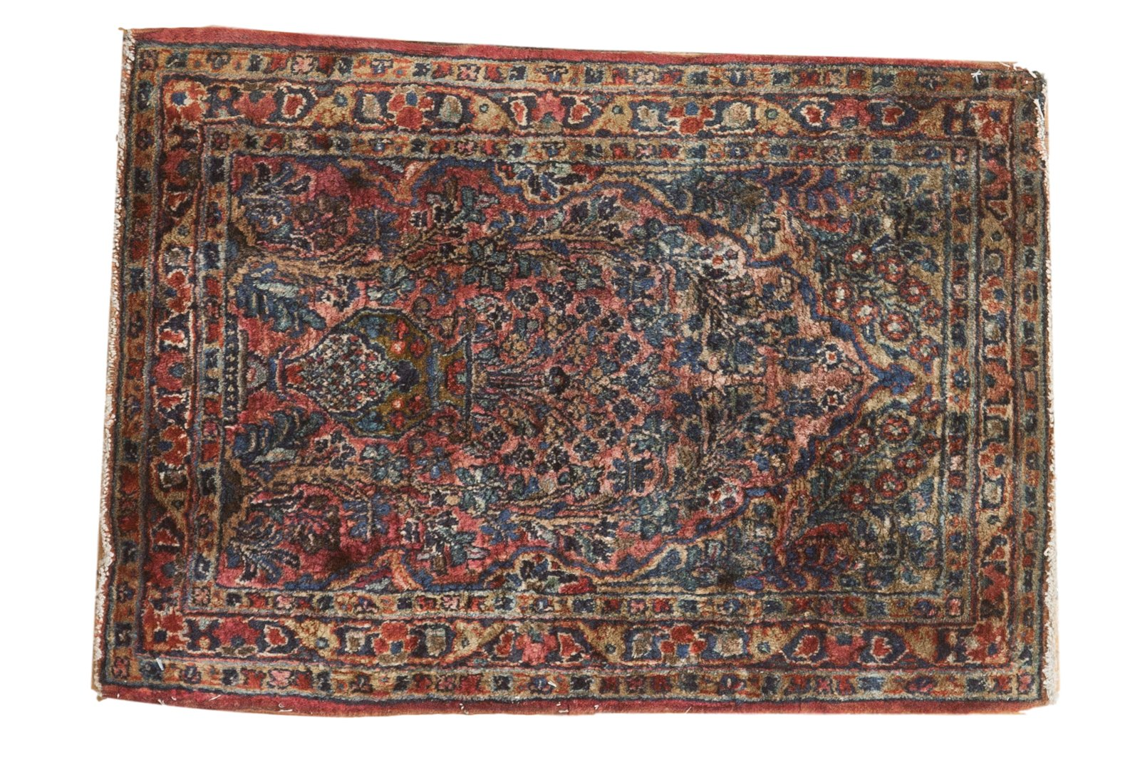 Responsible Antique 1920's Persian Sarouk Rug Carpet 4 Ft 2 Inches By 2 Foot 2 Inches Antiques
