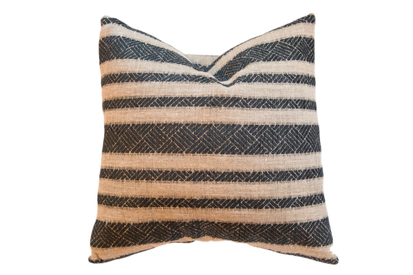 Reclaimed Remnant Onyx Black and Natural Pillow