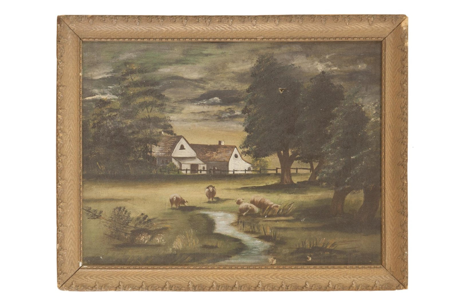 Sheep Grazing Antique Painting Onh Wall Art 5451