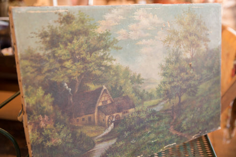 Cottage Scene Antique Painting