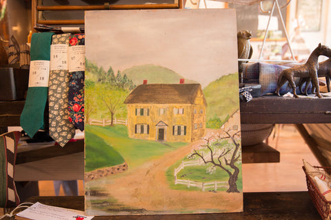 Double Sided Vintage House and Tea Kettle Painting