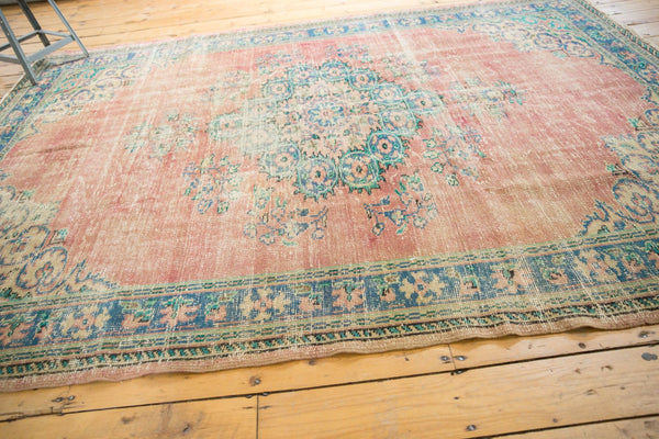 Vintage Distressed Oushak Carpet / Item 5508 image 6