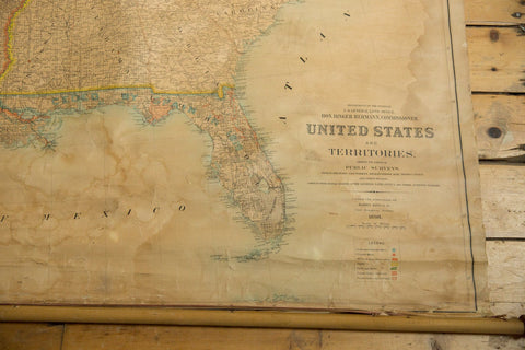 Large 1898 United States Antique Wall Map
