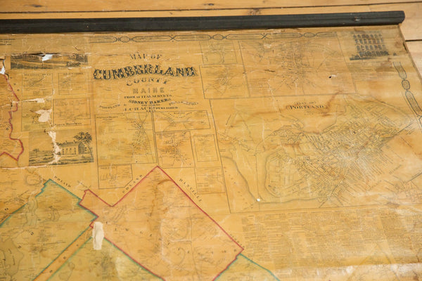 1860s Cumberland County Maine Wall Map featuring Portland