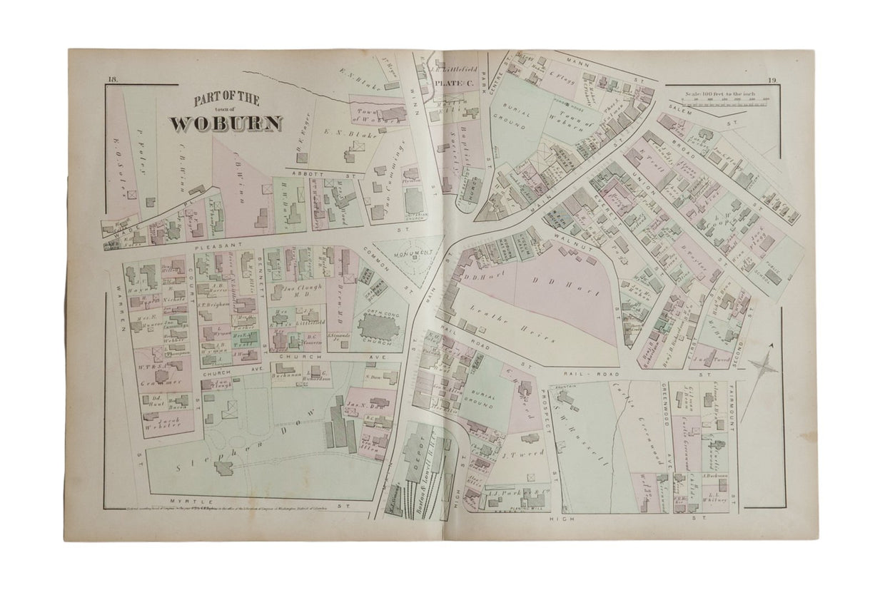 Antique Woburn Massachusetts Atlas Map Plate C