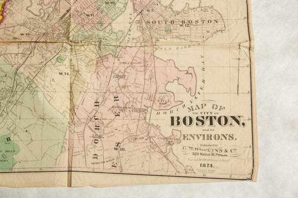 Antique Boston Map.Antique Folding Map Of City Of Boston And Its Environs 1874