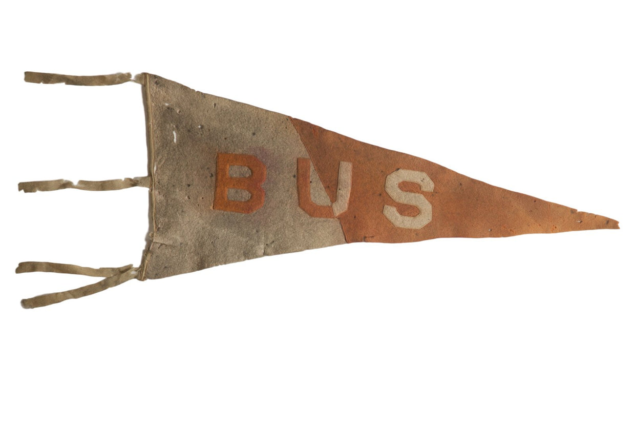 Antique B U S Felt Flag Pennant