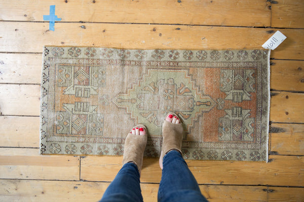 Vintage Distressed Oushak Rug Mat Runner / Item 6111 image 2
