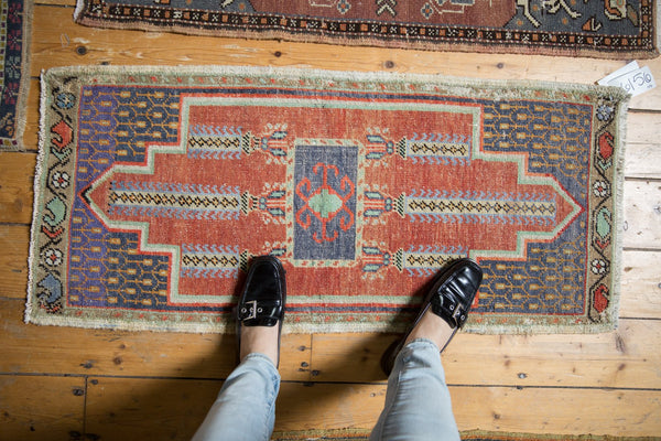 Vintage Distressed Oushak Rug Mat Runner / Item 6156 image 2