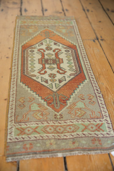 Vintage Distressed Oushak Rug Mat Runner / Item 6181 image 3