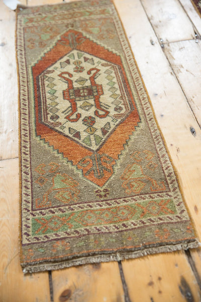 Vintage Distressed Oushak Rug Mat Runner / Item 6181 image 5