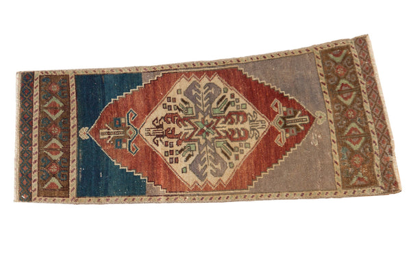 Vintage Distressed Oushak Rug Mat Runner / ONH item 6216